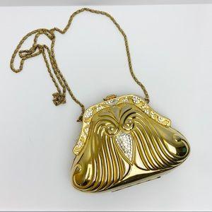 Vintage Bird Face Gold Metal Shoulder Purse